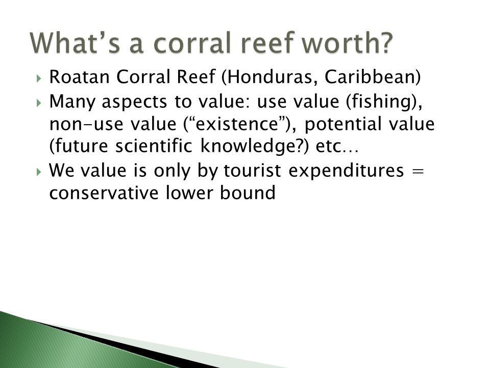 Roatan Corral Reef (Honduras, Caribbean)  Many aspects to value: use value (fishing), non-use value ( existence ), potential value (future scientific knowledge?) etc…  We value is only by tourist expenditures = conservative lower bound
