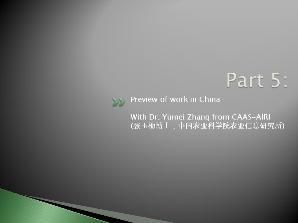 Preview of work in China With Dr. Yumei Zhang from CAAS-AIRI ( 张玉梅博士,中国农业科学院农业信息研究所 )