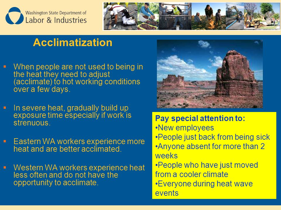 Acclimatization  When people are not used to being in the heat they need to adjust (acclimate) to hot working conditions over a few days.  In severe
