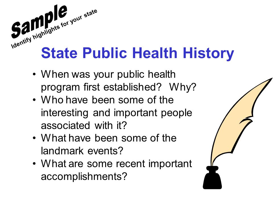 State Public Health History When was your public health program first established.
