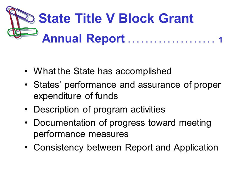State Title V Block Grant What the State has accomplished States' performance and assurance of proper expenditure of funds Description of program activities Documentation of progress toward meeting performance measures Consistency between Report and Application Annual Report....................