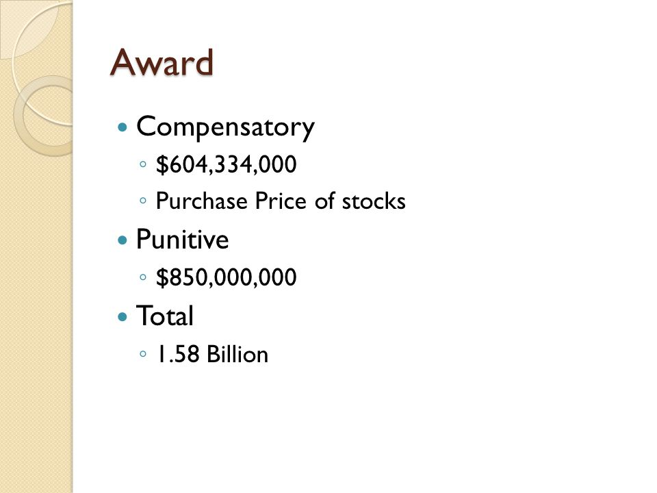 Award Compensatory ◦ $604,334,000 ◦ Purchase Price of stocks Punitive ◦ $850,000,000 Total ◦ 1.58 Billion