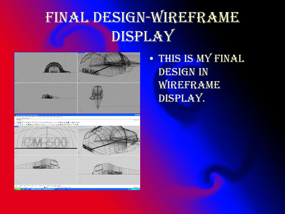 Final design-wireframe display This is my final design in wireframe display.