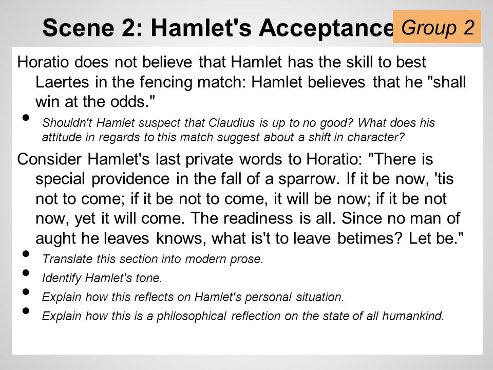 Scene 2: The Fight, The Folly Hamlet apologizes to Laertes, blaming his madness for any action that harmed him (and his family).