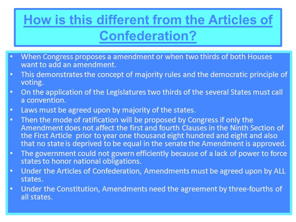 How is this different from the Articles of Confederation.
