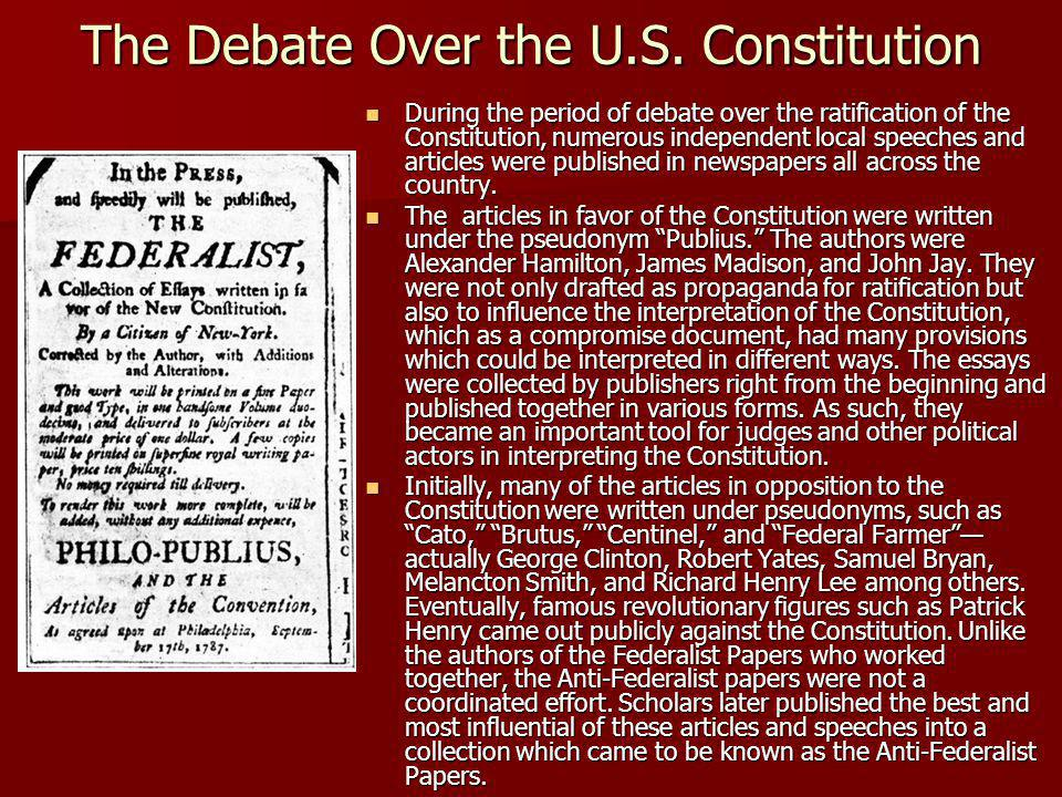 The Debate Over the U.S.