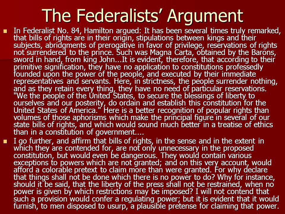 The Federalists' Argument In Federalist No.
