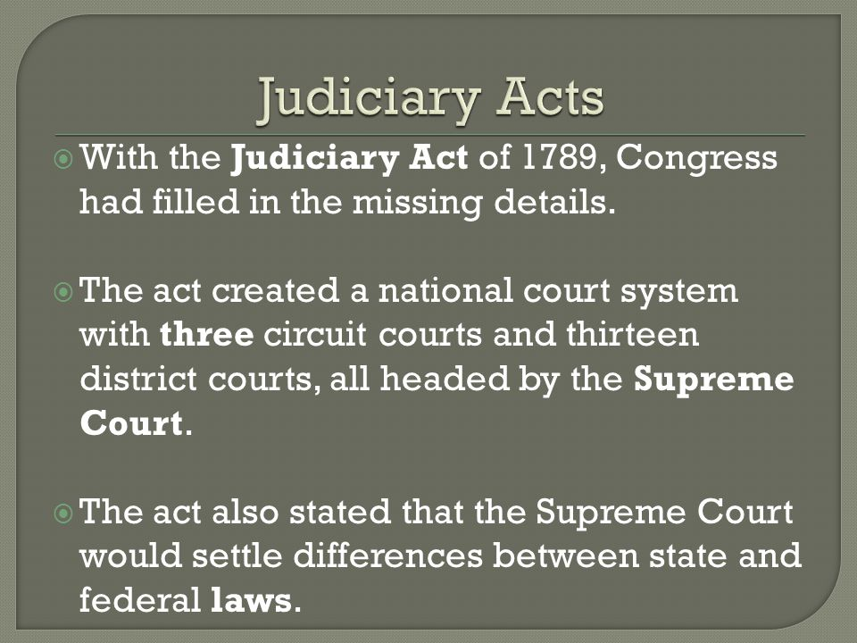  Not long before Jefferson took office, Congress passed the Judiciary Act of 1801.