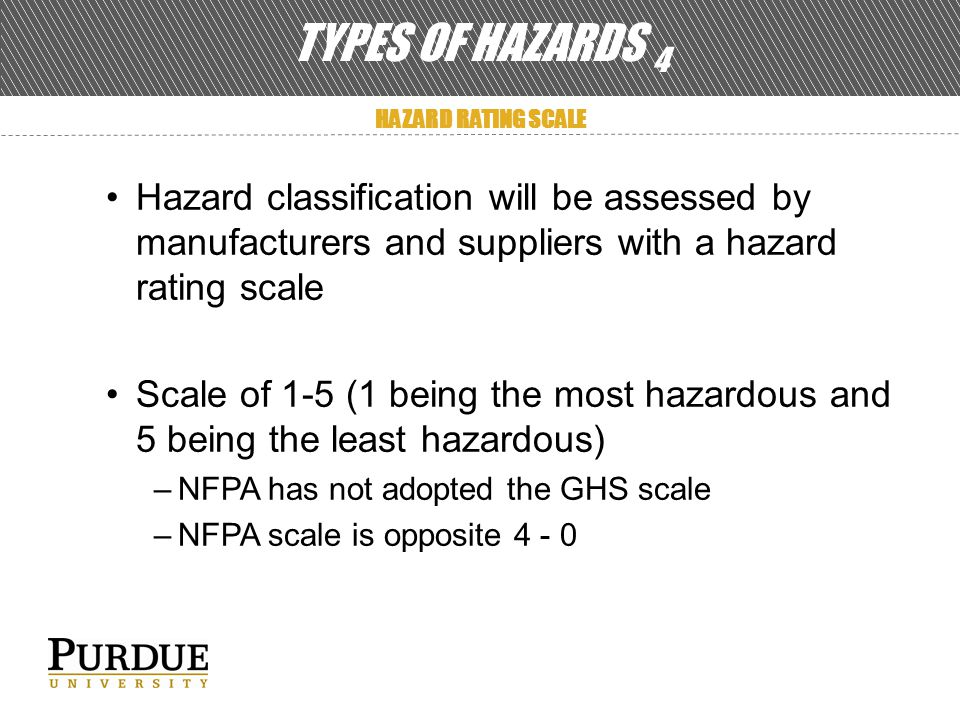 TYPES OF HAZARDS 4 HAZARD RATING SCALE Hazard classification will be assessed by manufacturers and suppliers with a hazard rating scale Scale of 1-5 (1 being the most hazardous and 5 being the least hazardous) –NFPA has not adopted the GHS scale –NFPA scale is opposite 4 - 0