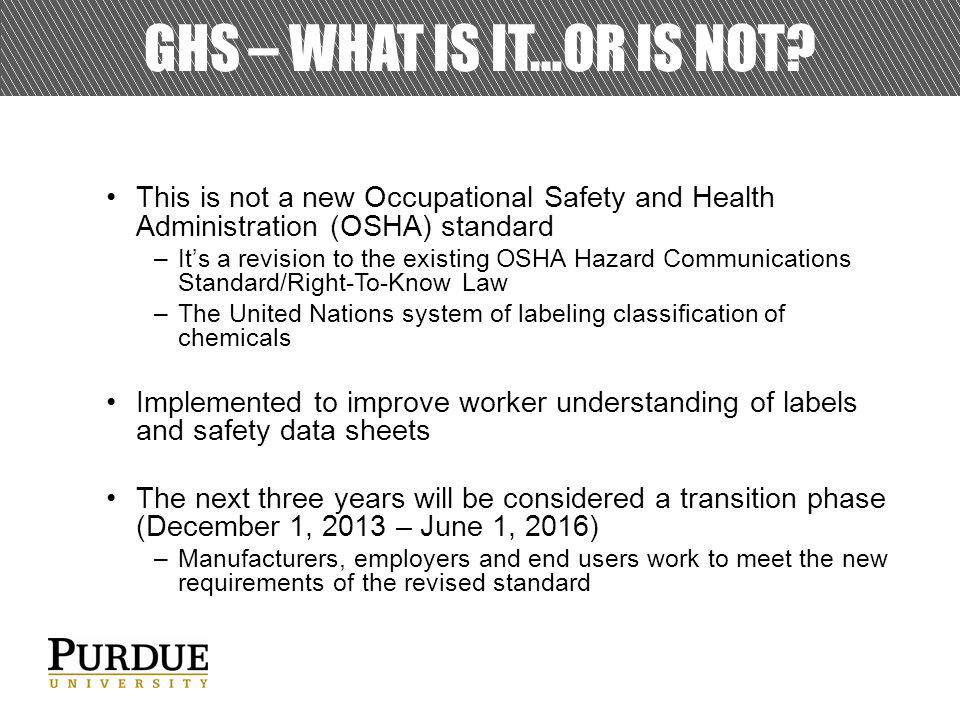 GHS – WHAT IS IT…OR IS NOT.