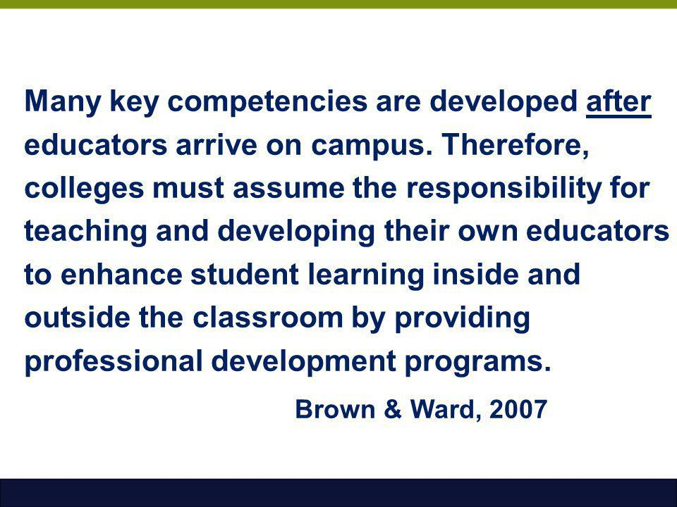 Many key competencies are developed after educators arrive on campus. Therefore, colleges must assume the responsibility for teaching and developing t