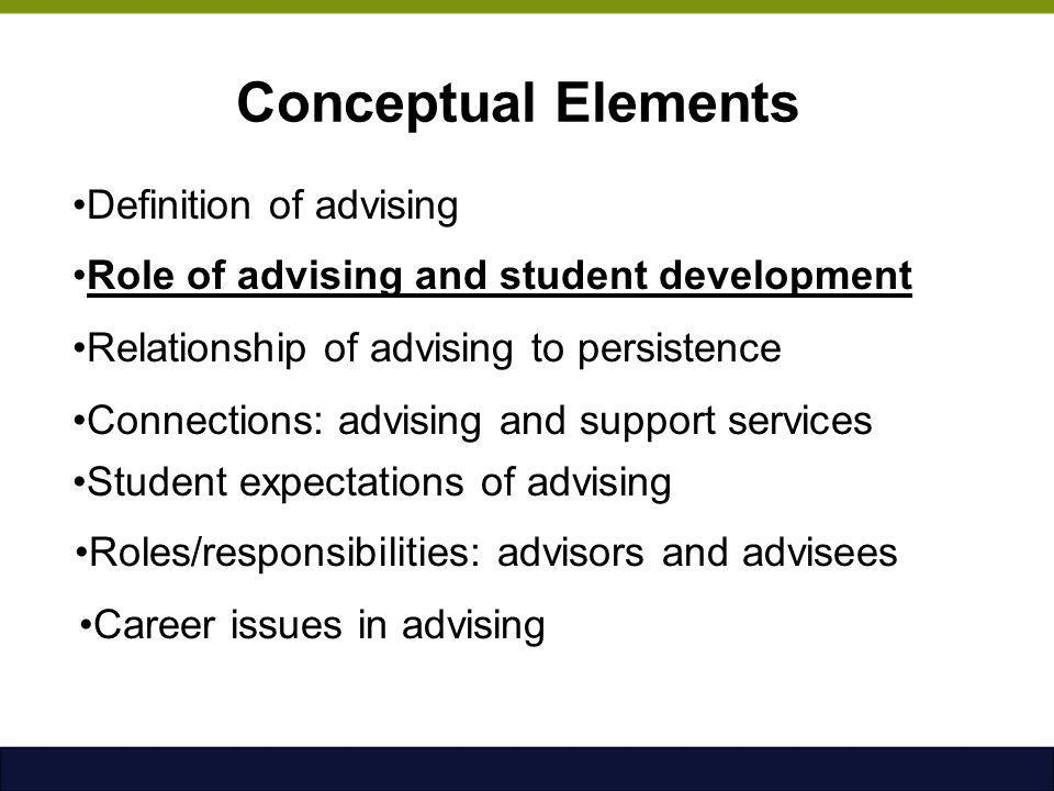 Conceptual Elements Definition of advising Role of advising and student development Relationship of advising to persistence Connections: advising and