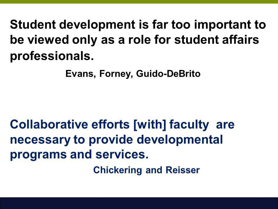 Student development is far too important to be viewed only as a role for student affairs professionals. Evans, Forney, Guido-DeBrito Collaborative eff
