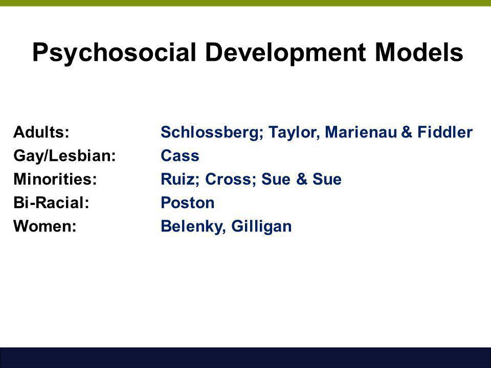 Psychosocial Development Models Adults:Schlossberg; Taylor, Marienau & Fiddler Gay/Lesbian: Cass Minorities: Ruiz; Cross; Sue & Sue Bi-Racial: Poston