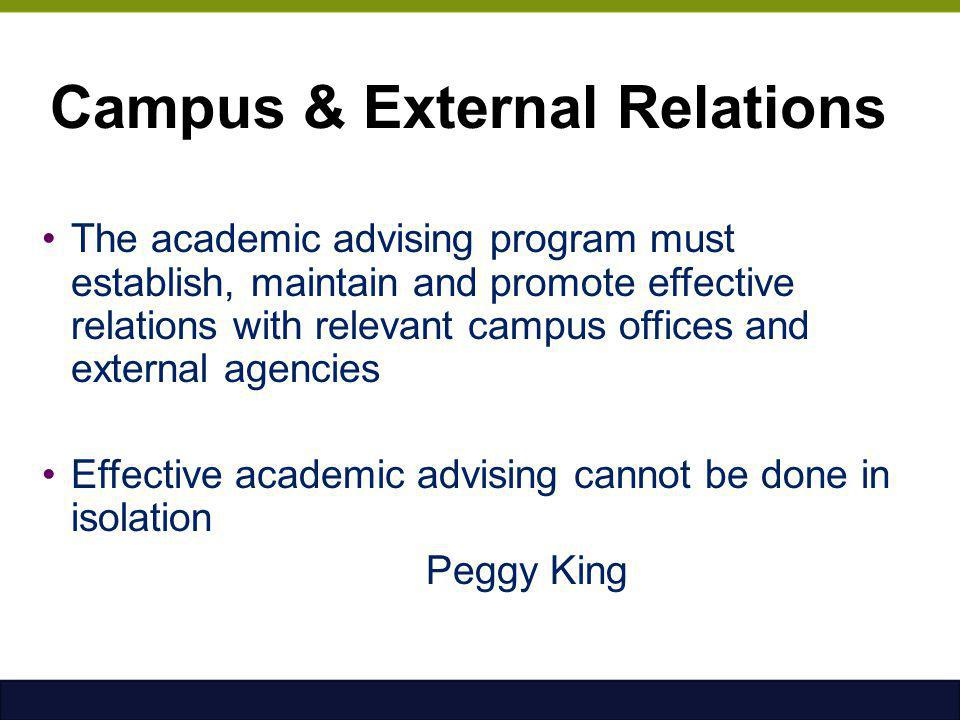 Campus & External Relations The academic advising program must establish, maintain and promote effective relations with relevant campus offices and ex