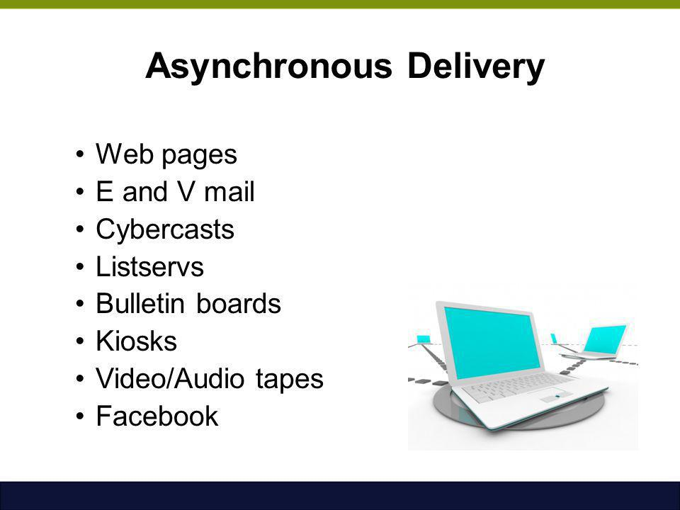 Asynchronous Delivery Web pages E and V mail Cybercasts Listservs Bulletin boards Kiosks Video/Audio tapes Facebook
