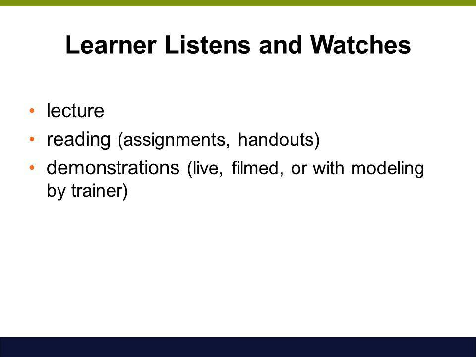 Learner Listens and Watches lecture reading (assignments, handouts) demonstrations (live, filmed, or with modeling by trainer)