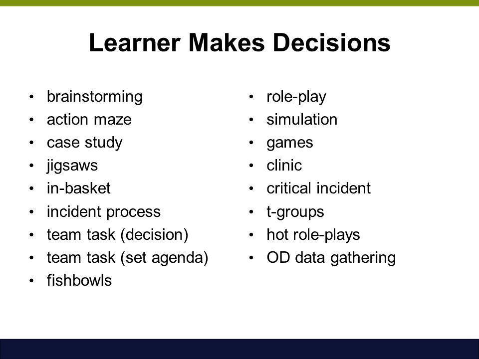 Learner Makes Decisions brainstorming action maze case study jigsaws in-basket incident process team task (decision) team task (set agenda) fishbowls