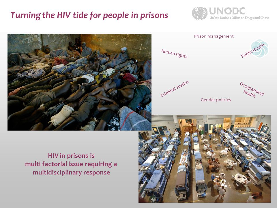 Turning the HIV tide for people in prisons HIV in prisons is multi factorial issue requiring a multidisciplinary response Prison management Public Health Occupational Health Criminal Justice Gender policies Human rights