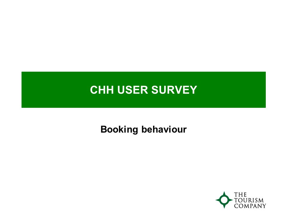 CHH USER SURVEY Booking behaviour