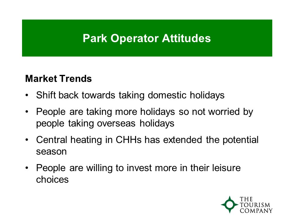 Park Operator Attitudes Market Trends Shift back towards taking domestic holidays People are taking more holidays so not worried by people taking overseas holidays Central heating in CHHs has extended the potential season People are willing to invest more in their leisure choices