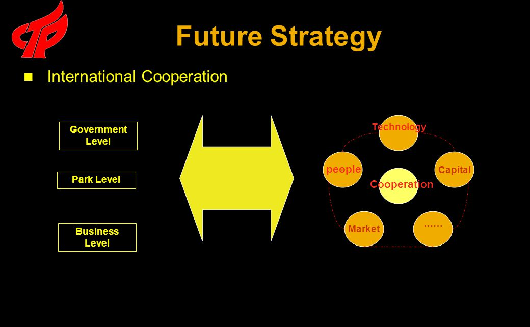 Future Strategy Government Level Park Level Business Level International Cooperation people Cooperation