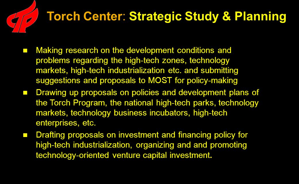Making research on the development conditions and problems regarding the high-tech zones, technology markets, high-tech industrialization etc.
