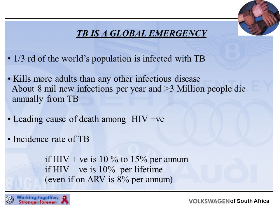of South Africa 1/3 rd of the world's population is infected with TB Kills more adults than any other infectious disease About 8 mil new infections per year and >3 Million people die annually from TB Leading cause of death among HIV +ve Incidence rate of TB if HIV + ve is 10 % to 15% per annum if HIV – ve is 10% per lifetime (even if on ARV is 8% per annum) TB IS A GLOBAL EMERGENCY