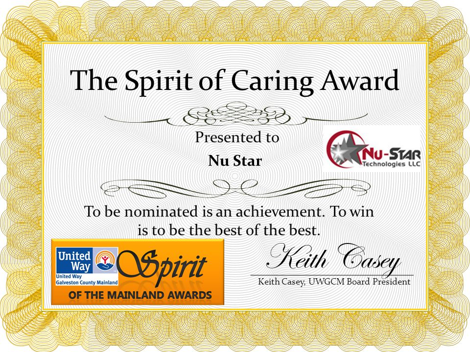 The Spirit of Caring Award To be nominated is an achievement.