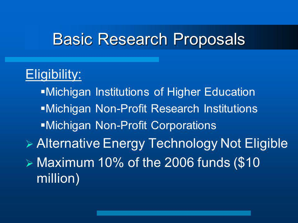 Basic Research Proposals Eligibility:  Michigan Institutions of Higher Education  Michigan Non-Profit Research Institutions  Michigan Non-Profit Corporations  Alternative Energy Technology Not Eligible  Maximum 10% of the 2006 funds ($10 million)