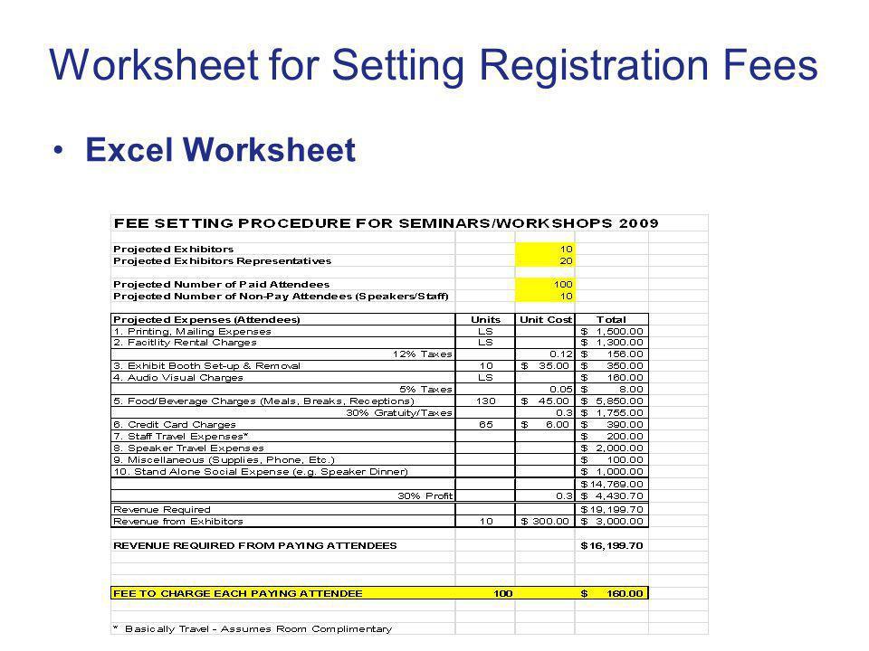 Worksheet for Setting Registration Fees Excel Worksheet