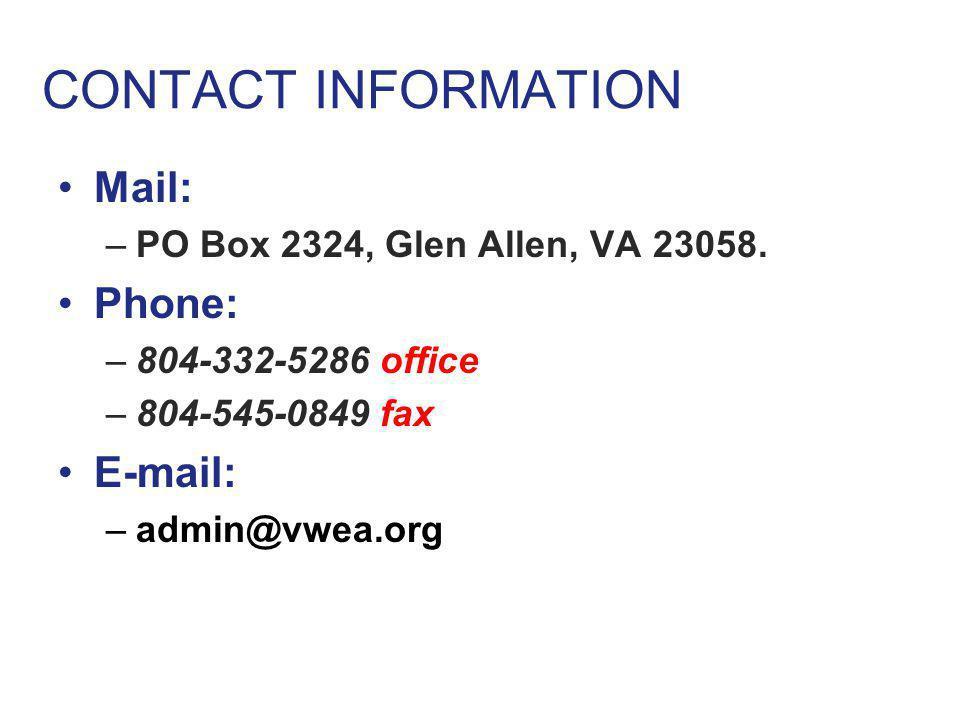 CONTACT INFORMATION Mail: –PO Box 2324, Glen Allen, VA 23058.