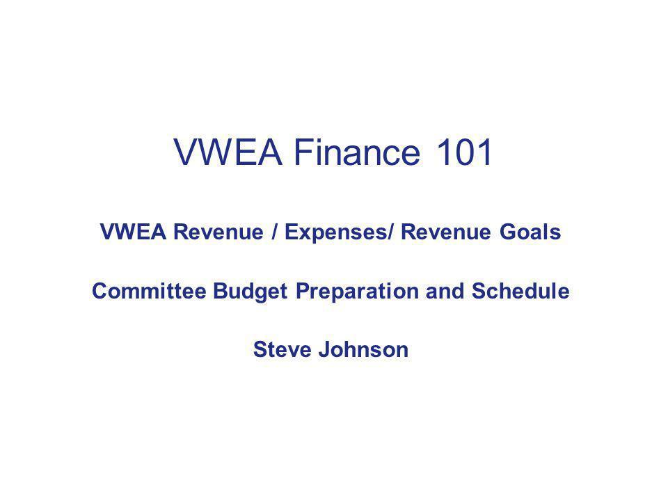 VWEA Finance 101 VWEA Revenue / Expenses/ Revenue Goals Committee Budget Preparation and Schedule Steve Johnson
