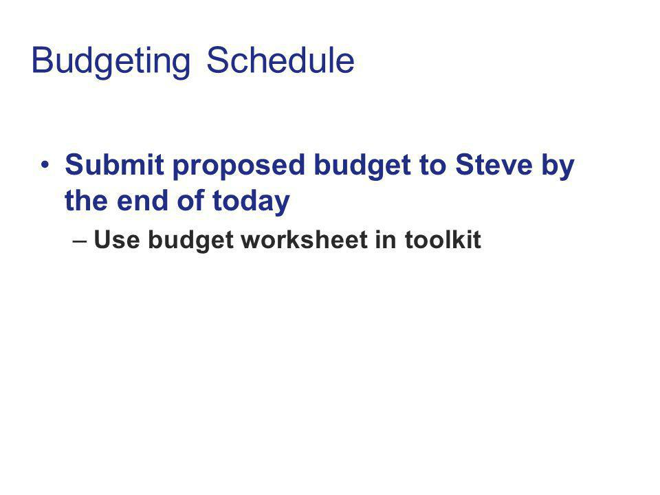 Budgeting Schedule Submit proposed budget to Steve by the end of today –Use budget worksheet in toolkit Submit proposed budget to Steve by the end of today –Use budget worksheet in toolkit