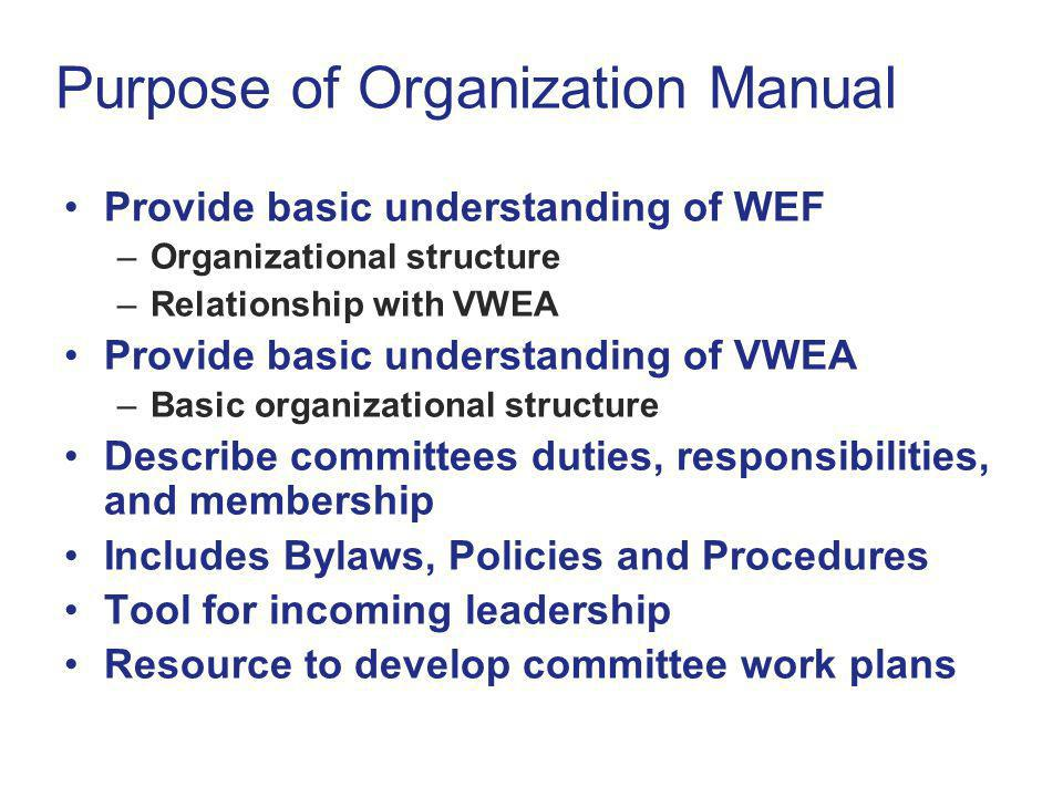 Purpose of Organization Manual Provide basic understanding of WEF –Organizational structure –Relationship with VWEA Provide basic understanding of VWEA –Basic organizational structure Describe committees duties, responsibilities, and membership Includes Bylaws, Policies and Procedures Tool for incoming leadership Resource to develop committee work plans Provide basic understanding of WEF –Organizational structure –Relationship with VWEA Provide basic understanding of VWEA –Basic organizational structure Describe committees duties, responsibilities, and membership Includes Bylaws, Policies and Procedures Tool for incoming leadership Resource to develop committee work plans