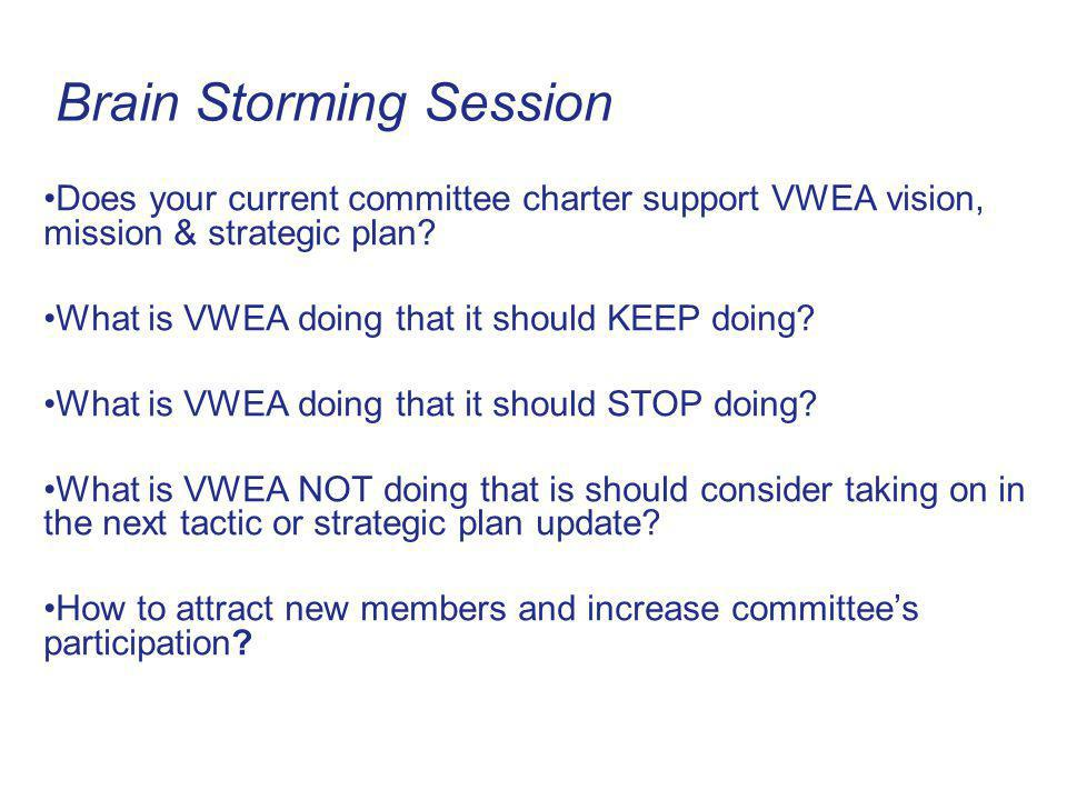 Brain Storming Session Does your current committee charter support VWEA vision, mission & strategic plan.