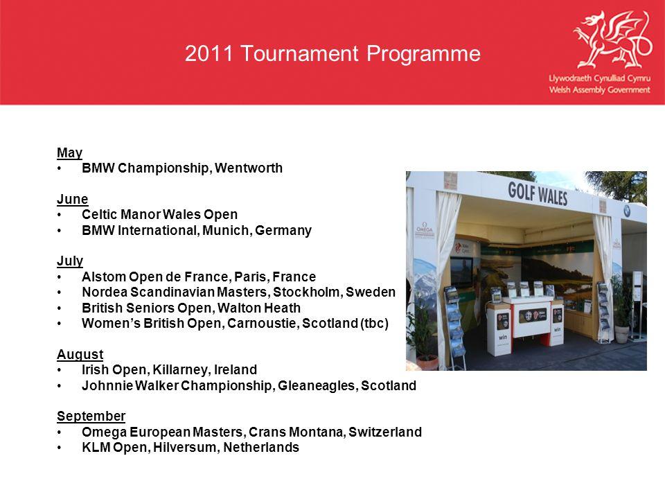 2011 Tournament Programme May BMW Championship, Wentworth June Celtic Manor Wales Open BMW International, Munich, Germany July Alstom Open de France,