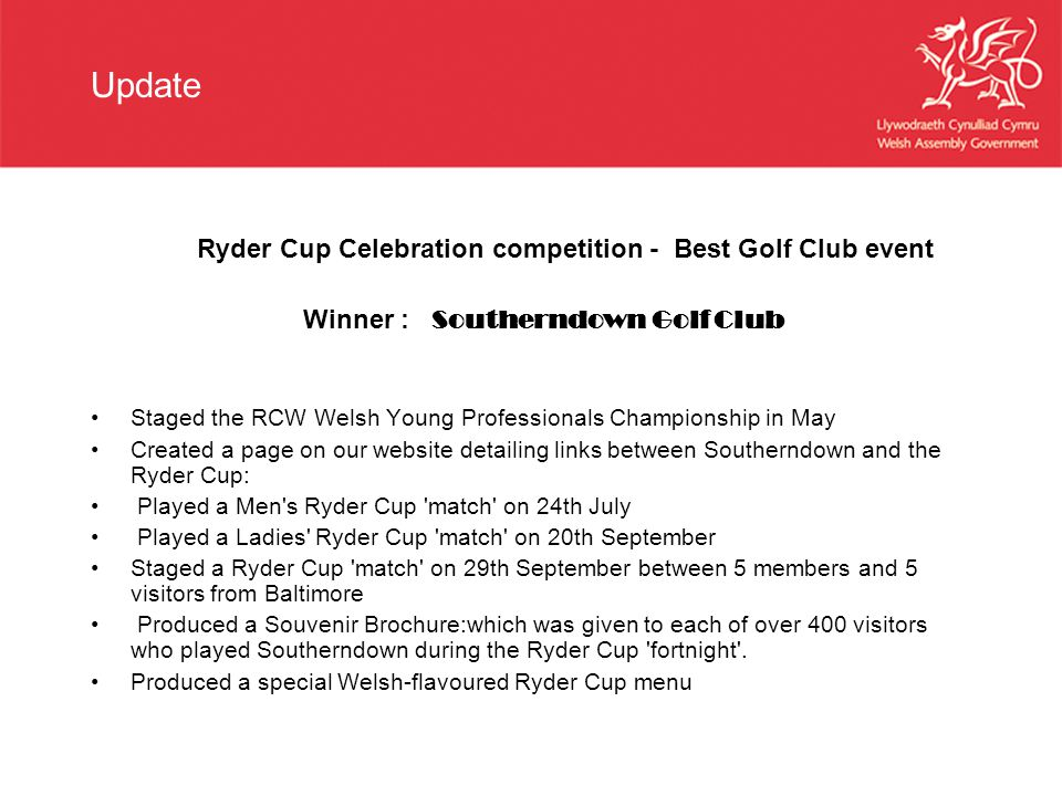 Update Ryder Cup Celebration competition - Best Golf Club event Winner : Southerndown Golf Club Staged the RCW Welsh Young Professionals Championship