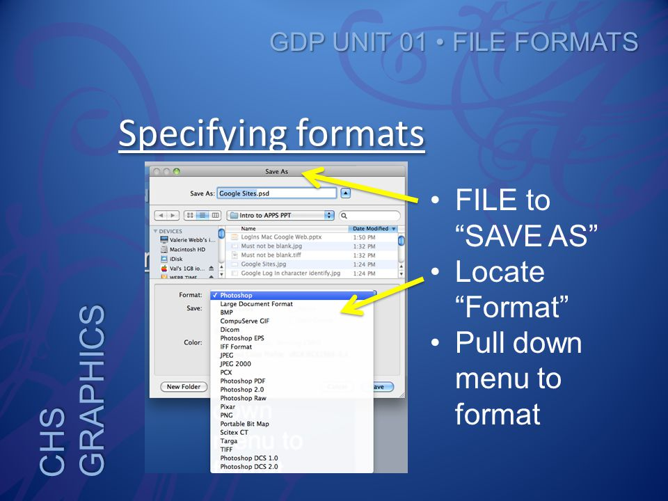 CHS GRAPHICS GDP UNIT 01 FILE FORMATS Specifying formats FILE to SAVE AS Locate Format Pull down menu to format