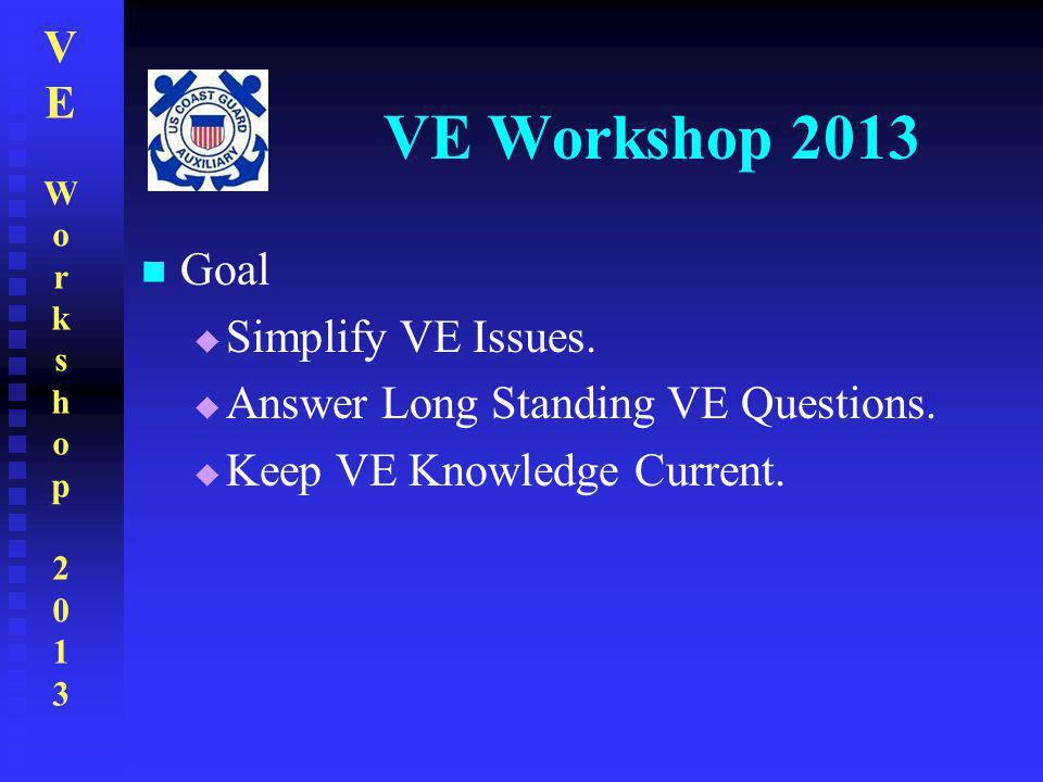VEWorkshop2013VEWorkshop2013 VE Workshop 2013 Goal  Simplify VE Issues.  Answer Long Standing VE Questions.  Keep VE Knowledge Current.
