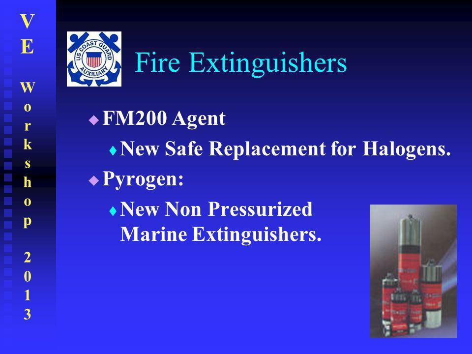 VEWorkshop2013VEWorkshop2013 Fire Extinguishers  FM200 Agent  New Safe Replacement for Halogens.  Pyrogen:  New Non Pressurized Marine Extinguishe