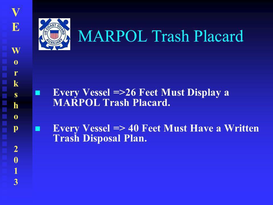 VEWorkshop2013VEWorkshop2013 MARPOL Trash Placard Every Vessel =>26 Feet Must Display a MARPOL Trash Placard. Every Vessel => 40 Feet Must Have a Writ