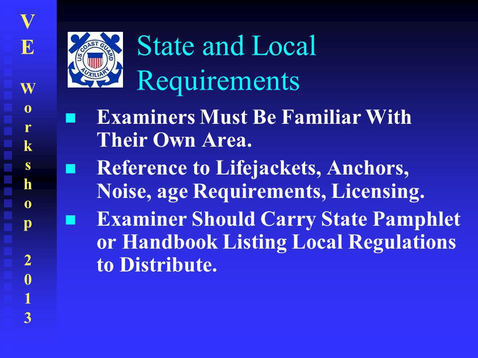 VEWorkshop2013VEWorkshop2013 State and Local Requirements Examiners Must Be Familiar With Their Own Area. Reference to Lifejackets, Anchors, Noise, ag