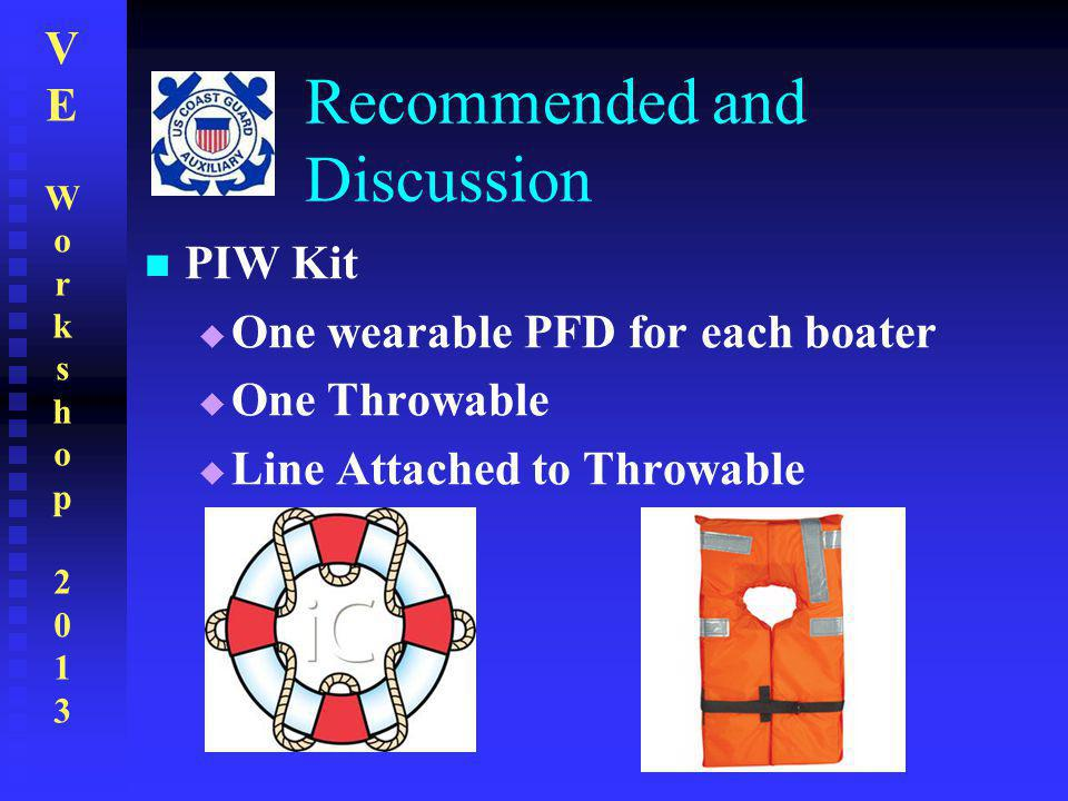 VEWorkshop2013VEWorkshop2013 Recommended and Discussion PIW Kit  One wearable PFD for each boater  One Throwable  Line Attached to Throwable