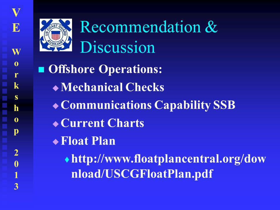 VEWorkshop2013VEWorkshop2013 Recommendation & Discussion Offshore Operations:  Mechanical Checks  Communications Capability SSB  Current Charts  F