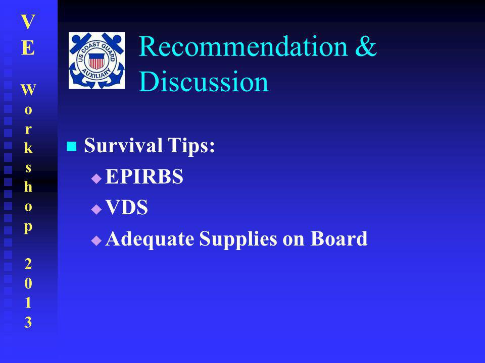 VEWorkshop2013VEWorkshop2013 Recommendation & Discussion Survival Tips:  EPIRBS  VDS  Adequate Supplies on Board