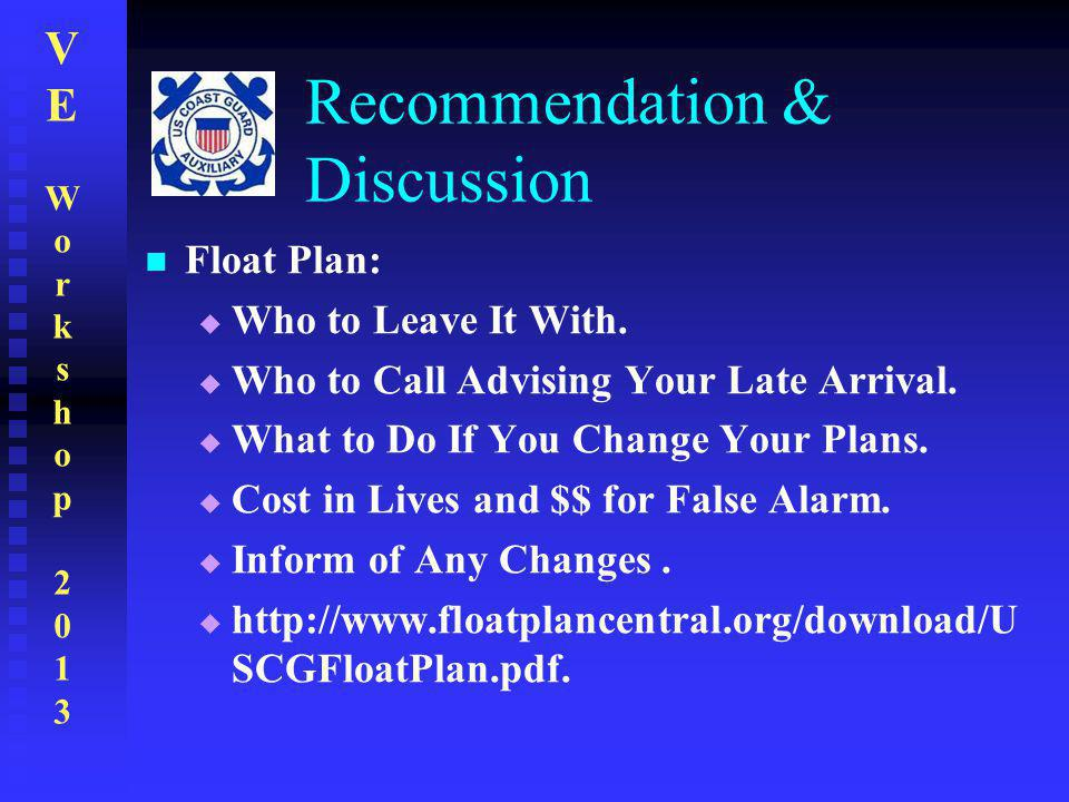 VEWorkshop2013VEWorkshop2013 Recommendation & Discussion Float Plan:  Who to Leave It With.  Who to Call Advising Your Late Arrival.  What to Do If