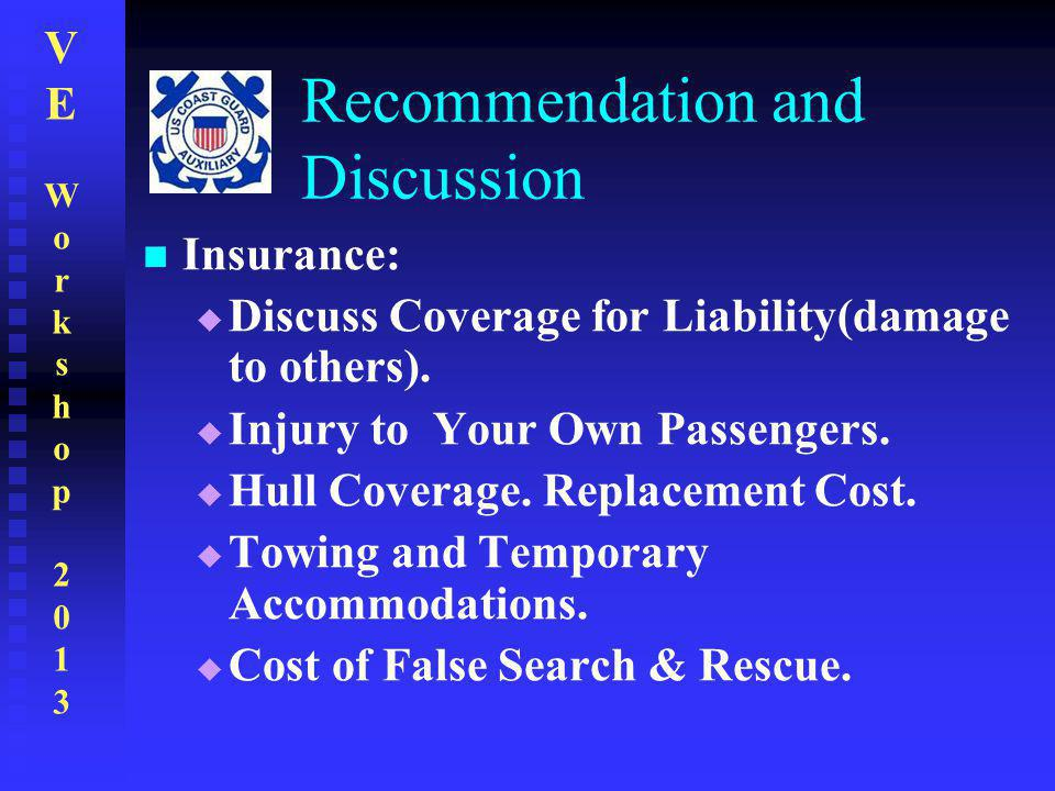 VEWorkshop2013VEWorkshop2013 Recommendation and Discussion Insurance:  Discuss Coverage for Liability(damage to others).  Injury to Your Own Passeng