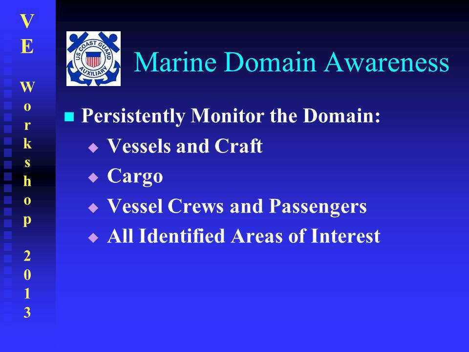 VEWorkshop2013VEWorkshop2013 Marine Domain Awareness Persistently Monitor the Domain:  Vessels and Craft  Cargo  Vessel Crews and Passengers  All