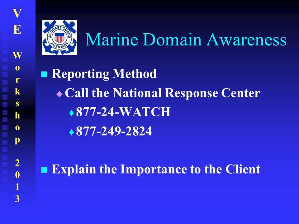 VEWorkshop2013VEWorkshop2013 Marine Domain Awareness Reporting Method  Call the National Response Center  877-24-WATCH  877-249-2824 Explain the Im